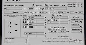 Transformer Nameplate With Ratings And Connections