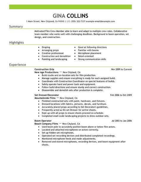 Filmmaking Resume Skills by Crew Resume Exle Media Entertainment Sle