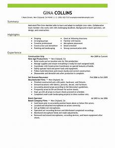 best film crew resume example livecareer With film production resume