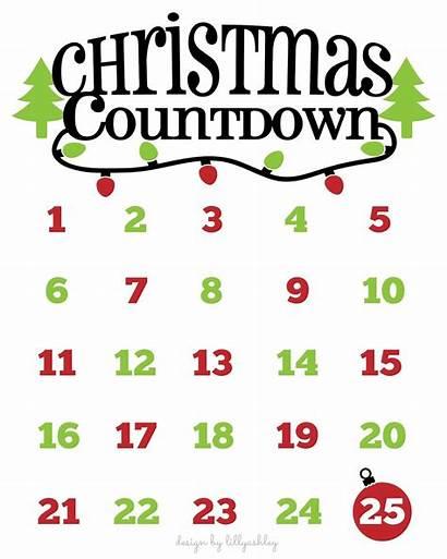 Countdown Printable Calendar Svg Template Cricut Xmas
