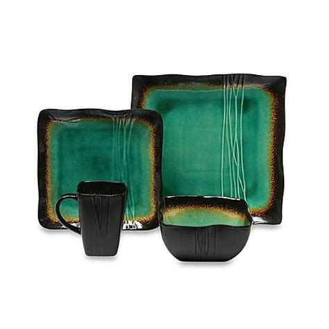 square dinnerware set baum galaxy square 16 dinnerware set in jade bed 4601