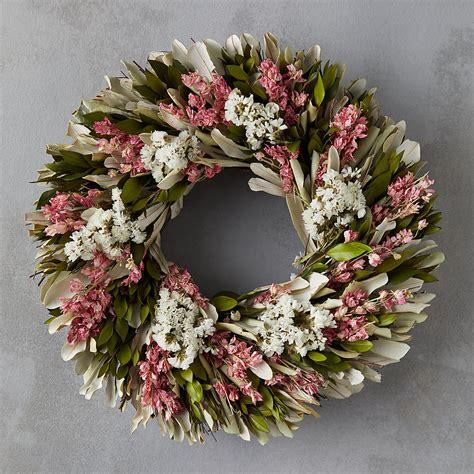 dried flower wreath with preserved larkspur terrain