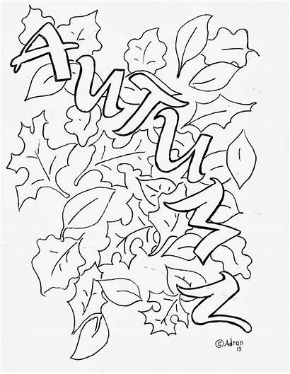 Coloring Autumn Pages Leaves Leaf Printable Fall