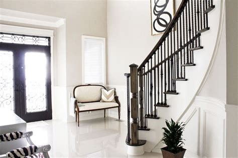 Front Entrance, Curved Staircase, Foyer Settee, Black