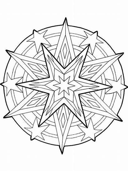 Coloring Christmas Pages Stars Mandala Outline Star