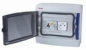 Coffret étanche 8 modules pré équipé avec interrupteur différentiel 40 mA et disjoncteur 16A