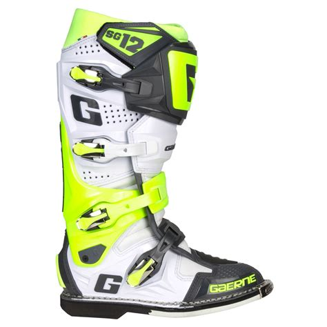 size 12 motocross boots gaerne sg 12 boots white yellow grey sixstar racing