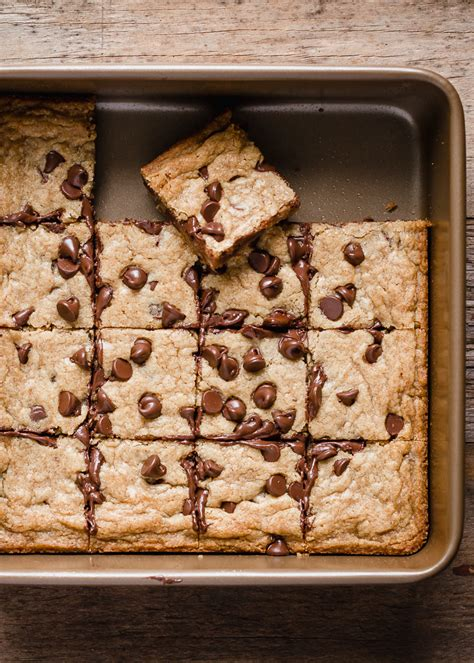 soft chewy chocolate chip cookie bars fork knife swoon