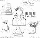 Cash Credit Card Register Cashier Clipart Bar Bag Royalty Groceries Grayscale Sketched Payment Code Around Illustration Female Vector Sm Clip sketch template