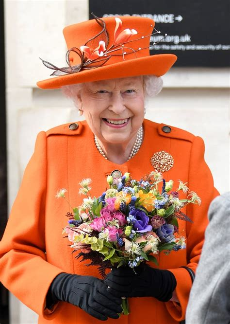 queen elizabeth iis orange outfit march  popsugar