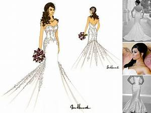 Artistic sketch of bride in white strapless mermaid ...