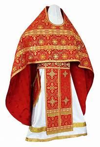 Russian Priest Vestments Metallic Brocade Bg1 Red Gold