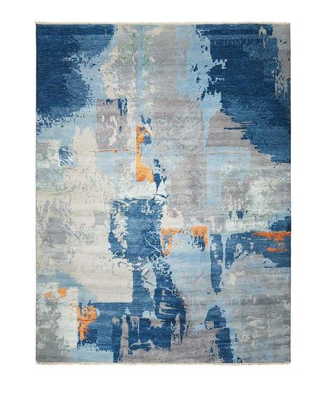 blue abstract painting rug