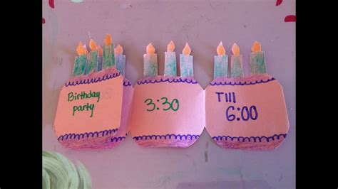 how to make a folding birthday party invitation card YouTube
