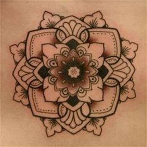 black linework split mandala tattoo design  neck