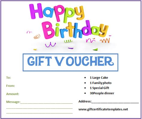 birthday gift certificate templates  www
