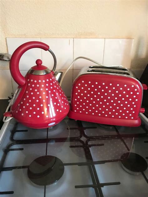 polka dot toaster and kettle with white polka dot kettle and toaster set in perth