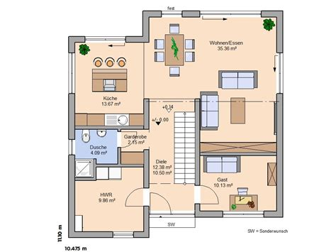 Grundriss Einfamilienhaus Modern Gerade Treppe Kjosycom