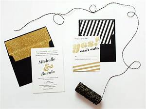 michelle bernie39s black and gold brooklyn wedding With black wedding invitations with gold lettering