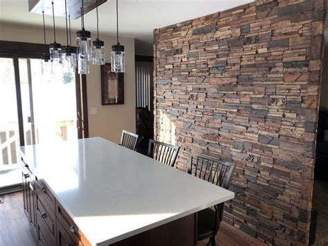 kitchen accent wall  stone style creative faux panels