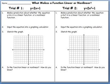 linear functions and nonlinear functions discovery lab by