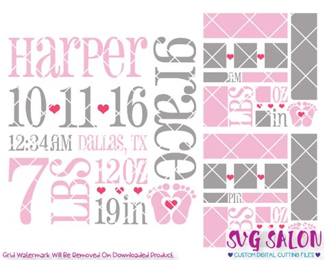 Choose from a range of shapes, edge. Baby Girl Birth Announcement Template SVG Cut File Set