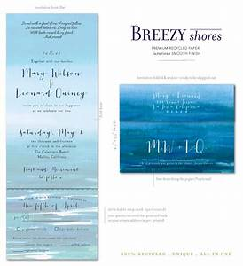beach wedding invitations on 100 recycled paper breezy With all in one beach wedding invitations