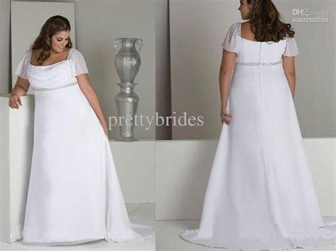 Wedding Dresses For Women : Custom Made Plus Size Floor Length Chiffon Short Sleeve