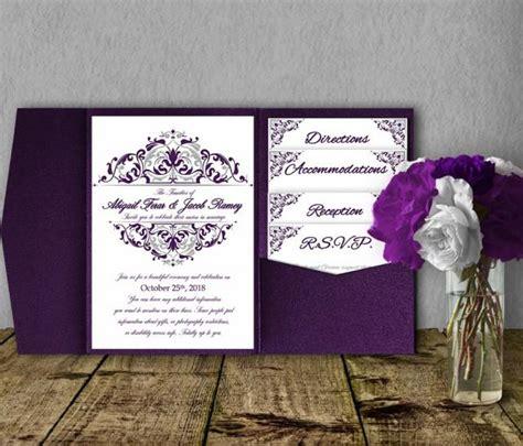silver purple wedding invitation template kit invitation