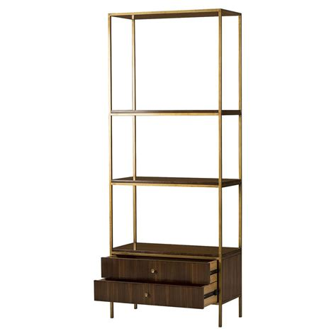 Etagere With Drawers by Maison 55 Mid Century Copeland Walnut 2 Drawer Gold Trim
