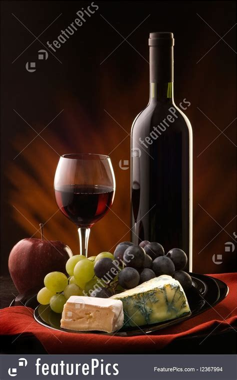 Still Life: Still Life With Cheese, Grape And Wine   Stock