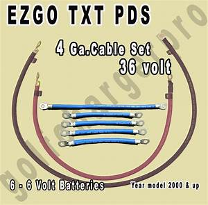 Ezgo Txt Pds Golf Cart 36 Volt 4 Gauge Heavy Duty Battery Cable Wiring Set