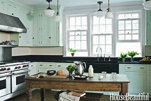 A new old kitchen by young huh in house beautiful for Best brand of paint for kitchen cabinets with wall art light fixtures