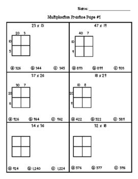 multiple choice area models partial product 4 nbt 5 worksheets by angela ido