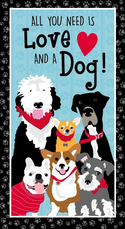 love   dog fabric panel