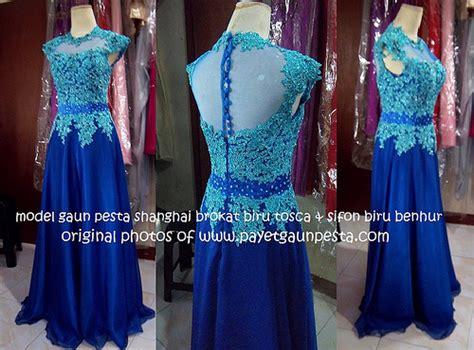 kebaya modern biru gaun pesta shanghai brokat biru tosca dan sifon biru