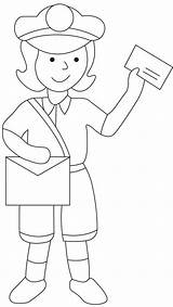 Postman Mailman Coloring Drawing Pages Sheets Mail Preschool Colouring Printable Postwoman Postal Worksheets Community Helpers Books Sketch Craft Crafts Bestcoloringpages sketch template