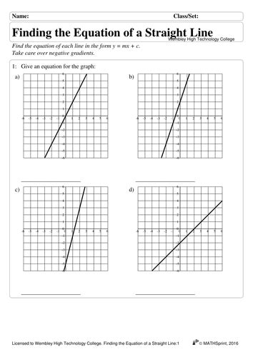 gcse higher linear graphs y mx c by suhaila19 teaching