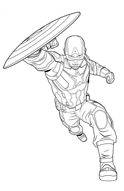 disegni da colorare marvel heroes captain america marvel coloring page