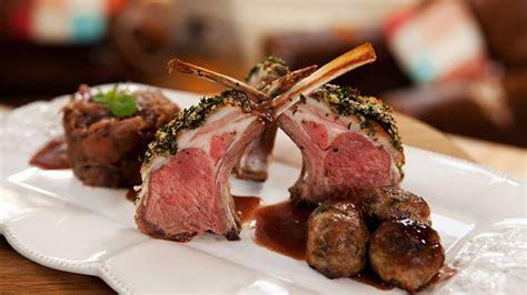 slow roasted lamb racks  spiced meatballs  rich wine gravy recipe bbc food