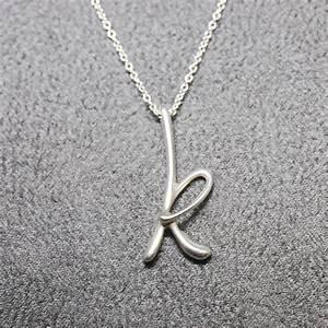 tiffany co elsa peretti letter k alphabet pendant necklace With tiffany letter pendant