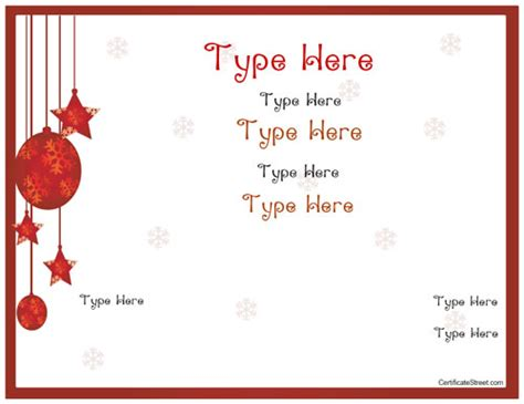 blank certificates holiday gift certificate template