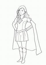 Supergirl Coloring Pages Easy Drawing Template Super Superhero Outline Drawings Sketch Popular sketch template