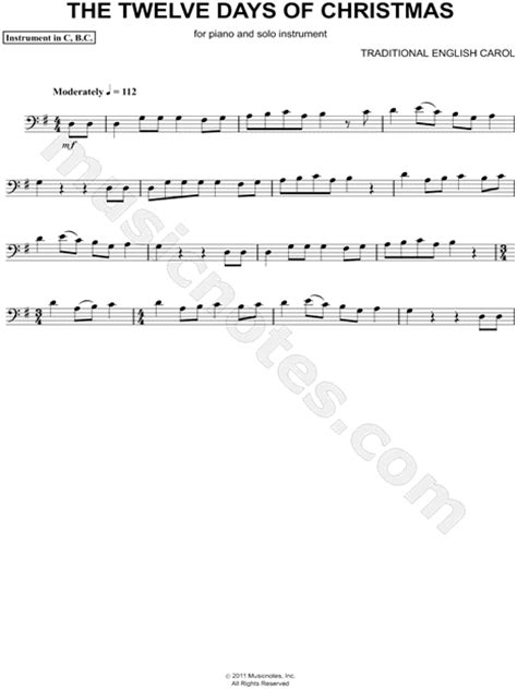 "Traditional English ""the Twelve Days Of Christmas  Bass Clef Instrument"" Sheet Music (cello"