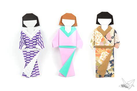 origami japanese doll  kimono dress tutorial paper kawaii