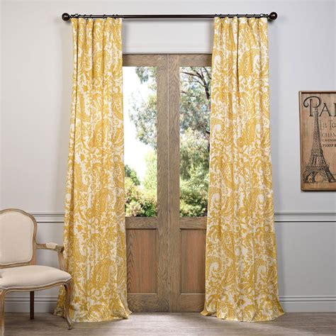 yellow curtain panels edina yellow 96 x 50 inch printed cotton curtain single