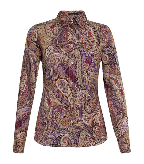 etro paisley shirt  brown lyst