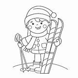 Coloring Cartoon Skiing Pages Ski Outline Winter Sports Skis Popular Illustration Illustrations Dreamstime Vectors sketch template