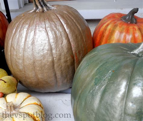 paint for pumpkins spray painted metallic pumpkins take halloween pumpkins into thanksgiving the v spot