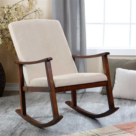 modern design wooden rocking chair with thick seat and